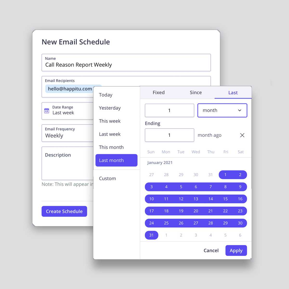 Set your schedule report interval and receipts